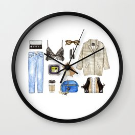 watercolor sketch. woman fashion outfit Wall Clock