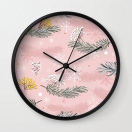 Vintage Pink Christmas Wall Clock