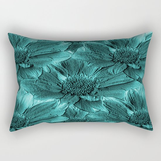 Turquoise Floral Abstract Rectangular Pillow