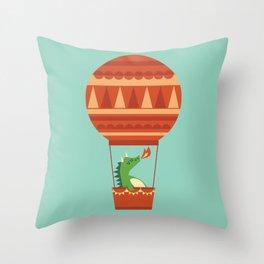 Dragon On Hot Air Balloon Throw Pillow