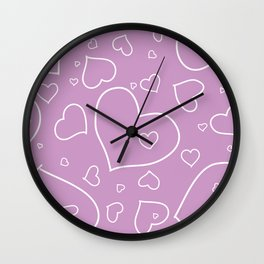 Lavender and White Hand Drawn Hearts Pattern Wall Clock