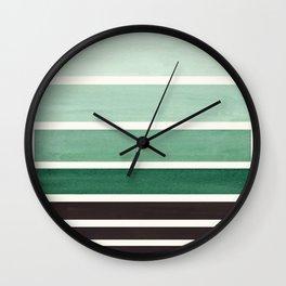 Deep Green Minimalist Watercolor Mid Century Staggered Stripes Rothko Color Block Geometric Art Wall Clock