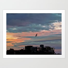 Sunrise Flight over Portland (1) Art Print