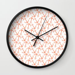 Modern coral white trendy nautical anchor Wall Clock