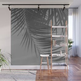 Palm Leaves Gray Vibes #1 #tropical #decor #art #society6 Wall Mural