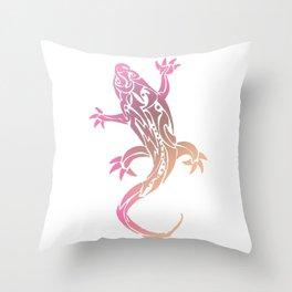 Pink Tribal Tattoo Gecko Throw Pillow