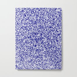 Tiny Spots - White and Dark Blue Metal Print