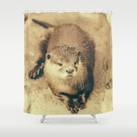 otter Shower Curtains featuring Cute Otter by Pati Designs