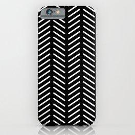 Classic Herringbone Pattern (white/black) iPhone Case