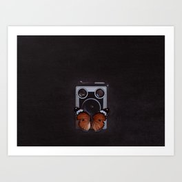 Vintage Camera with Orange Butterfly Art Print