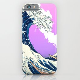 Great Wave Off Kanagawa Mount Fuji Eruption Gradient Purple and Pink iPhone Case