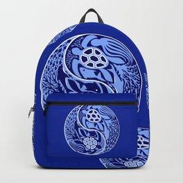 Yin Yang Marine Life Sign Classic Blue Monochrome Backpack