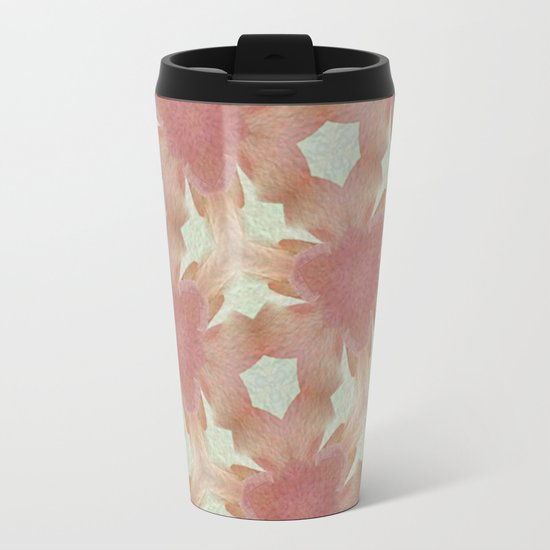 Geometric Floral Design - Pink Metal Travel Mug
