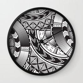 UrbanNesian Black and White Tatau Wall Clock