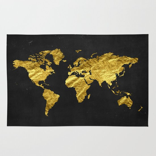 Black Gold Decor Gold World Map Office Decor Bathroom Glam - Black and gold world map