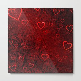 Abstract romantic red valentine damask hearts Metal Print