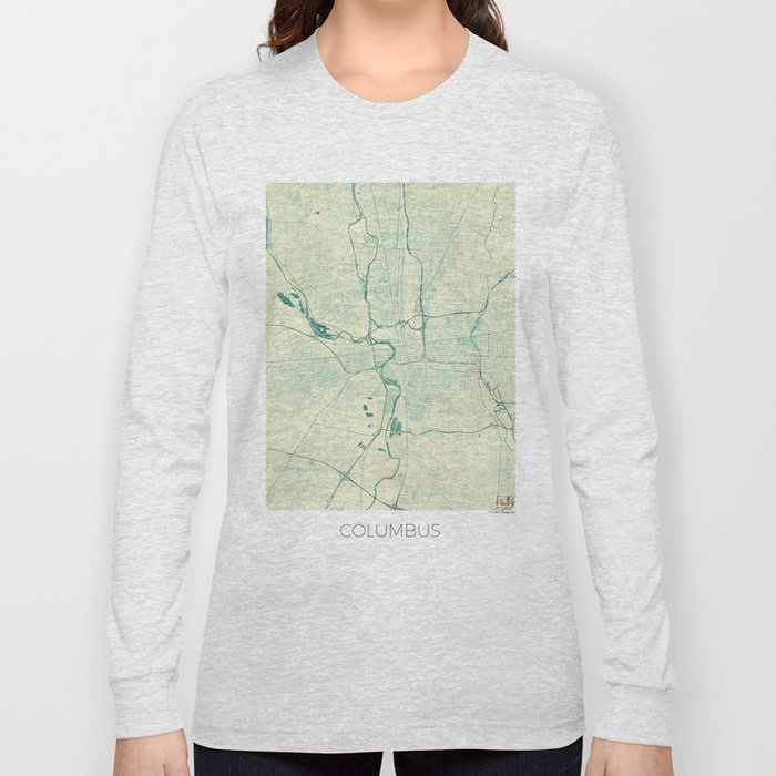 Columbus Map Blue Vintage Long Sleeve T-shirt
