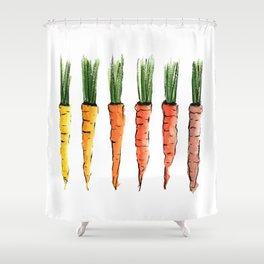 Happy colorful carrots Duschvorhang