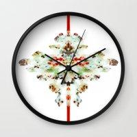 moth Wall Clocks featuring Moth by Tina Carroll