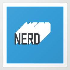 Retro Nerd Blue Art Print