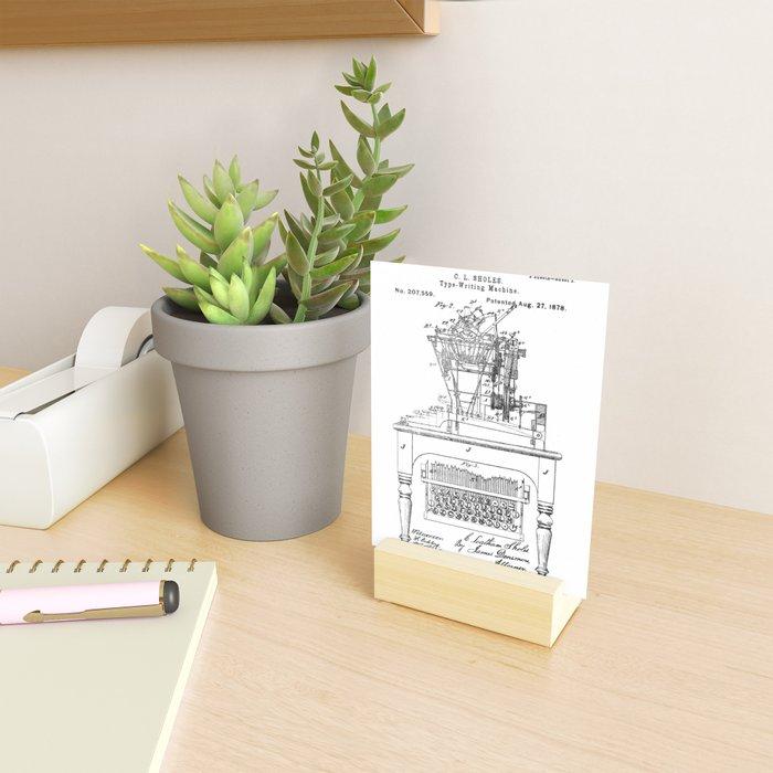 QWERTY Typewriter: Christopher Latham Sholes QWERTY Typewriter Patent Mini Art Print