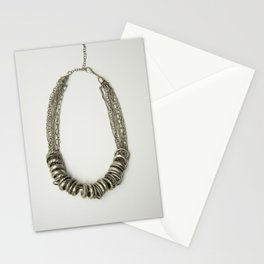 Mongolian silver necklace Stationery Cards