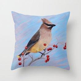 Cedar Waxwing in a Tree Throw Pillow