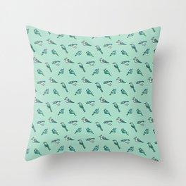 doodle birds - mint Throw Pillow