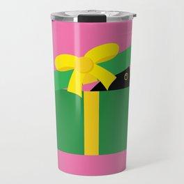 Cute Blackbird Peeking Out Of A Gift Box Travel Mug