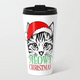Meowy Christmas Merry Cat Kitten Ugly Travel Mug