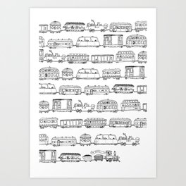 Marco's train - Black Art Print
