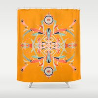 yellow pattern Shower Curtains featuring Yellow by B. McGee