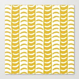 Wavy Stripes Mustard Yellow Canvas Print