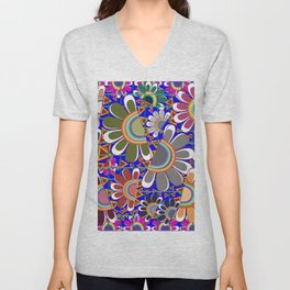 abstract art of the  roses and flowering plant  Unisex V-Neck