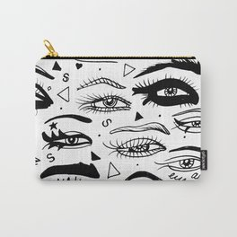 All Eyez on Me- Black and White Ink Drawing Carry-All Pouch