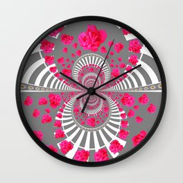 ABSTRACT PINK ROSES ON GREY COLOR ART Wall Clock