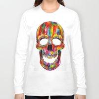 skull Long Sleeve T-shirts featuring Chromatic Skull by John Filipe