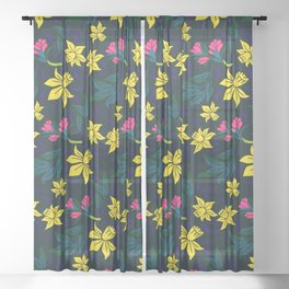 Narcissus pattern Sheer Curtain