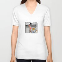 puppies V-neck T-shirts featuring Pervert Jack - Cute Puppies by Lon Casler Bixby - Neoichi