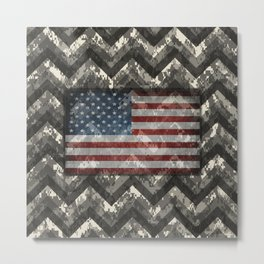 Ivory White Digital Camo Chevrons with American Flag Metal Print