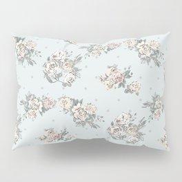 Pastel blue brown pink vintage roses polka dots pattern Pillow Sham