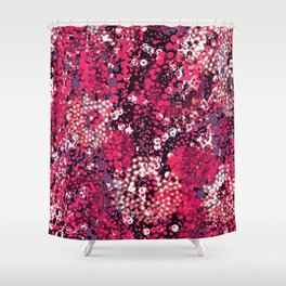 sparkling dots in red Shower Curtain