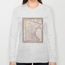 Vintage Map of Minnesota (1864) Long Sleeve T-shirt