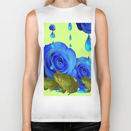 DECORATIVE BLUE SURREAL DRIPPING ROSES & GREEN FROGS Biker Tank