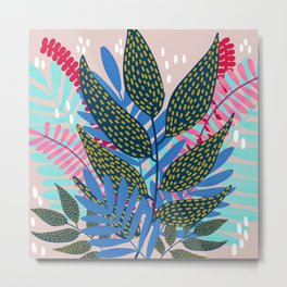 Blue Pink and Gold Vines and Leaves Metal Print