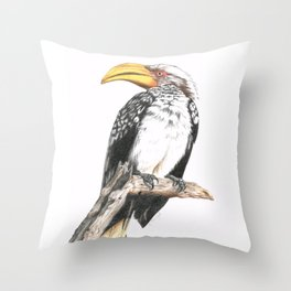 Southern Yellow-Billed Hornbill - Colored Pencil Throw Pillow