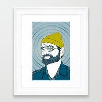 steve zissou Framed Art Prints featuring Steve Zissou by Chelsea Kepner
