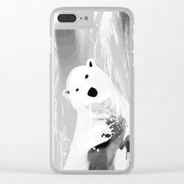 Unique Black and White Polar Bear Design Clear iPhone Case
