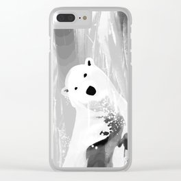 Unique Black and White Polar Bear Design Clear iPhone Case
