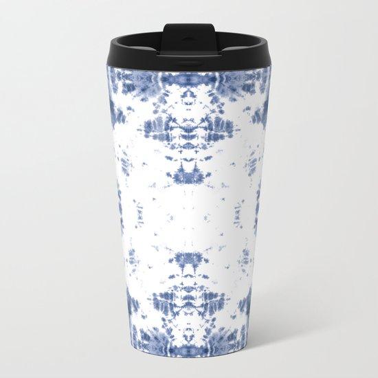 Shibori Tie Dye 5 Indigo Blue Metal Travel Mug